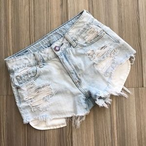 High waisted distressed shorts